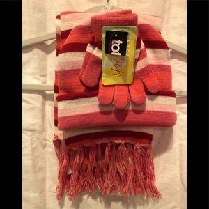 Totes hat gloves scarf set pink white stripe Girls